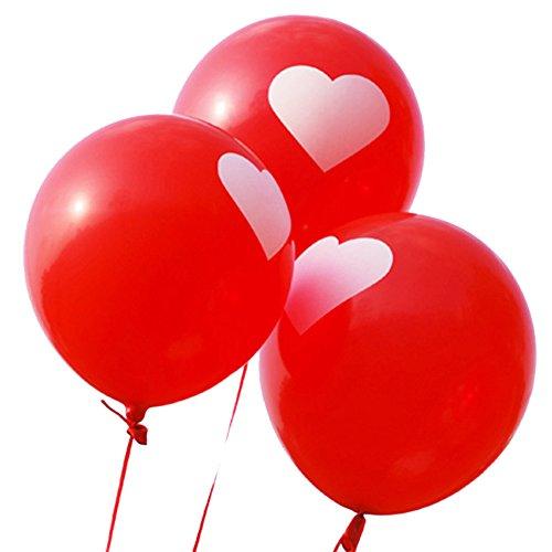 Da.Wa - Juego de 10 globos de látex con forma de corazón, color rojo y blanco