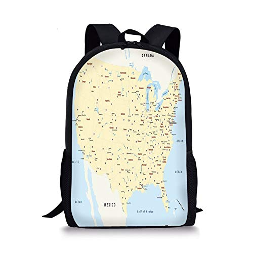 School Bags Map,United States Interstate Map America Cities Travel Destinations Road Route Decorative,Yellow Red Light Blue for Boys&Girls Mens Sport Daypack -