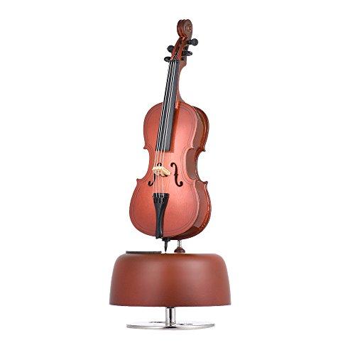 Ammoon Klassische Wind Up Spieluhr Violine Musik Box mit Miniature Replica Artware Geschenk Musik Instrument Base schwenkbar colore-2