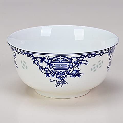 Blue and white glazed bone China birthday Bowl ceramic rice bowl soup,7 (Servizio Burner)