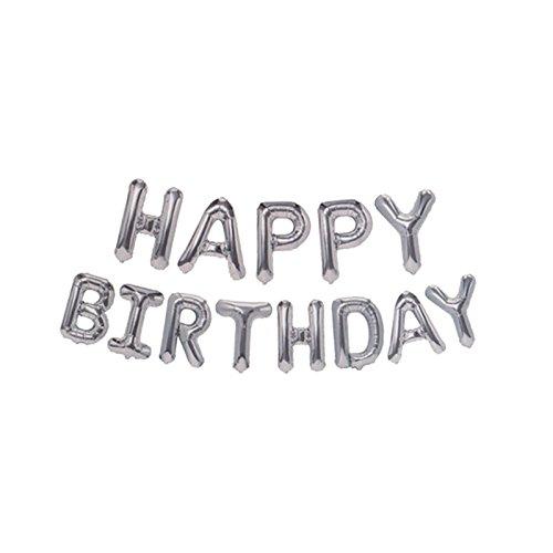 Smartrich Happy Birthday Folie Ballons, 16cm Alphabet mit Ballons Kindergeburtstag Deko, silber, 41 cm