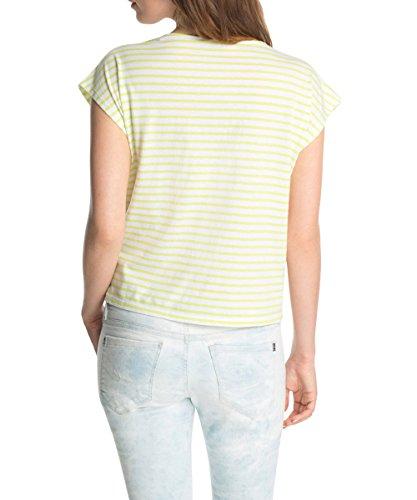 edc by Esprit Damen T-Shirt mit Spitze Gelb