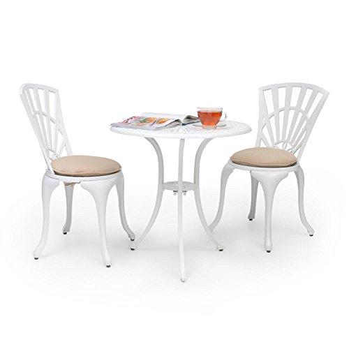 Blumfeldt Valletta Set bistrot (3 parties composé d'une table et de 2 chaises,c oussins alu moulé, revêtement résistant aux intempéries) - blanc