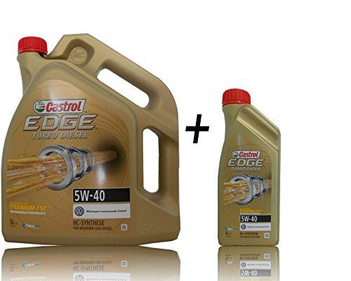 Olio motor CASTROL EDGE TURBO DIESEL 5W40 6 litri (1x5 lts + 1x1 lt) speciale motori TDi