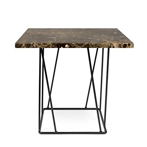Paris Prix - Temahome- Table D'appoint Design Helix 50cm Marbre Marron & Métal Noir