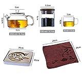Set da tè da viaggio in vetro 8 pezzi - Teiera con filtro (200 ml), 4 tazze da tè, asciugamano, porta tè in vetro, vassoio del tè, custodia di stoccaggio