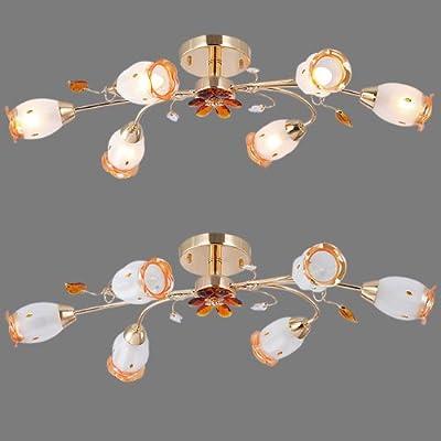 Deckenleuchte Design Deckenlampe 5072-6BG Glas Kristallglas Messing 6-flammig von SW-Style bei Lampenhans.de