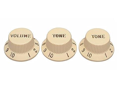 FENDER AGED Strat VOL & Tone Set Knobs–Potentiomètre boutons pour Strat