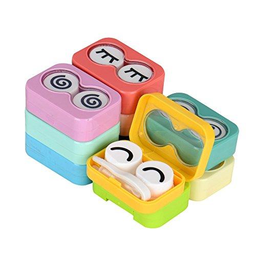 Rezept Kontaktlinsen Kostüm - FiedFikt 1 Stück Mini Reise-Kontaktlinsen-Etui Kunststoff Container Halter Tragbar für Home-Travel Kit