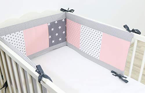 Protector de cuna de ULLENBOOM ® con rosa gris protector de cuna de 180x30 cm;...