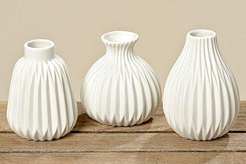 3er-Set Vasen \'Esko\' Porzellan weiß