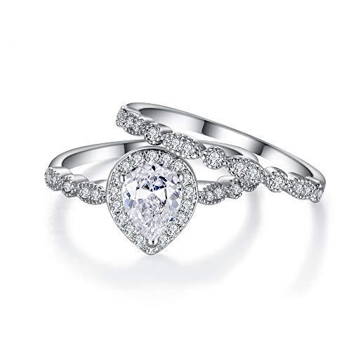 EVER FAITH Damen Ring Zirkonia KlarHochzeit Braut Birne geformt Teardrop Träne Versprechen Ring Set T 1/2