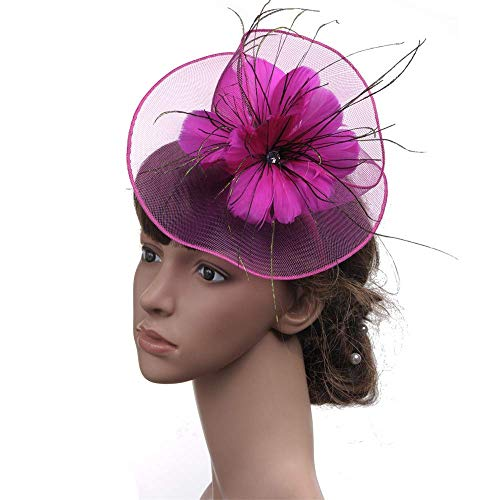 cinators Hut Stirnband Kentucky Derby Hochzeit Cocktail Blume Mesh Federn Haarspange Perle Tea Party für Mädchen und Frauen (Farbe: Rose rot) ()