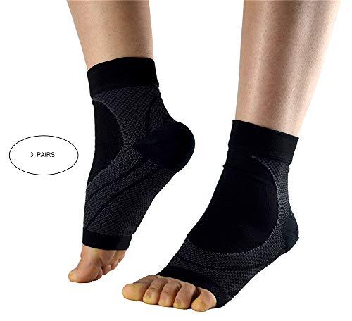 LQFLD Kompressionsstrümpfe Socken für Damen & Herren,Plantar Fasciitis Socken für Männer Frauen, Große Fußpflege Kompressionsfußärmel für Plantar Fasciitis Schmerzlinderung (3 Paare),L (Guter Koch Reibe)