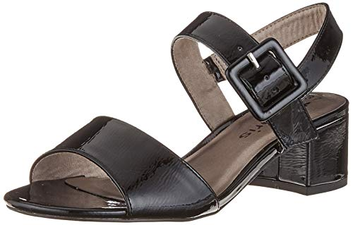 Tamaris Damen 1-1-28211-22 Riemchensandalen, Schwarz (Black PATENT 18), 36 EU 1 Black Patent Schuhe
