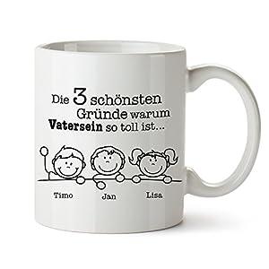 Tasse mit Aufdruck – Gute Gründe Vater - Personalisiert mit Namen – Individuelle Kaffeetasse in weiß als Geschenk zum Geburtstag – Papa Geschenkideen - Vatertagsgeschenke