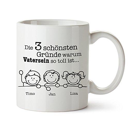 Tasse mit Aufdruck – Gute Gründe Vater - Personalisiert mit Namen – Individuelle Kaffeetasse in...