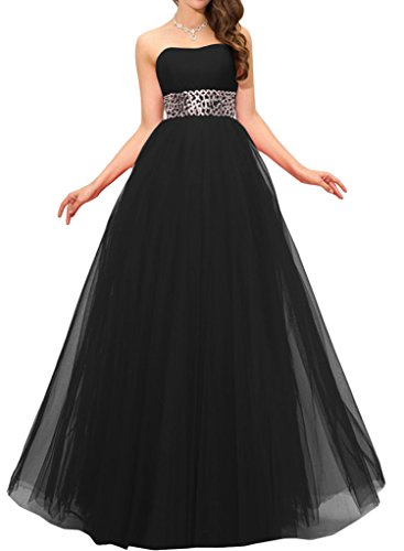 Gorgeous Bride Elegant Traegerlos Empire Satin Tuell Lang Abendkleider Cocktailkleid Ballkleider Schwarz