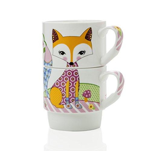 MONTEMAGGI Lot de 2 mugs en porcelaine empilables décorés avec l'image de renard colorata. tasses et lui lei décorées d'une volpe. Dimensions : 12 x 8,5 x 14 cm.
