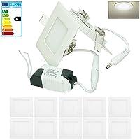 ECD Germany 10 x ultra delgado panel LED incorporado proyector 3W 8.5 x 8.5 cm SMD 2835 blanco neutro 4000K 220-240V aprox. 129 lúmenes Luz de techo empotrada Cuadrado
