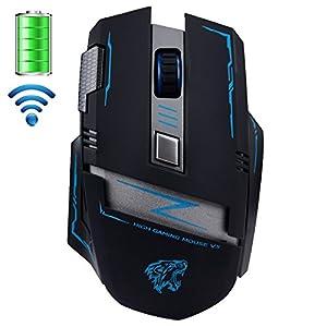 urchoiceltd® actme V5Wireless wiederaufladbare Maus-, 2,4GHz Gaming Maus 2400DPI Pro Schlacht 6Tasten optische USB-Maus für Laptop PCS
