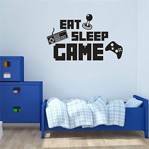 zqyjhkou Abnehmbare Eat Sleep Game Control Rod Art Decor Wandhaupt Aufkleber Wanddekor Kindergarten Kinderzimmer Cartoon Wohnzimmer Wandaufkleber D405 58 X 102 cm