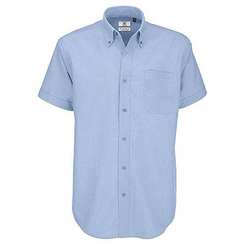 B&C Collection Herren Modern Business-Hemd Gr. L, oxfordblau (L/s Plaid Oxford Mens Hemd)