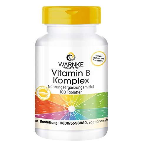 Vitamina B Complex - con todas las vitaminas B esenciales - Productos para la salud Warnke - 100 cápsulas - artículo 100% Vegetariano - sin levadura - 1 pack / 62g    Sin lactosa, gluten, gelatina ni levadura - 100% Vegano  Un comprimido contiene:  ...