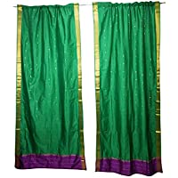 Mogul Interior Green Sari Curtains Rod Pocket Wall Art Panel Shade for Bedroom Panels 96x44