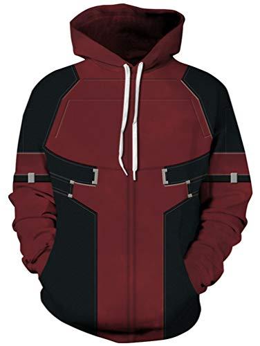 Ocean Plus Herren Aufdruck Kapuzenpullover Tierdruck Galaxis Motiv Sweatshirt Weihnachten Schädel Hoodie Top Streetwear (XXL/3XL (Brustumfang: 126-146CM), Deadpool)