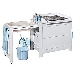 Belivin® 3in1 Wickelkommode weiß | Wickeltisch weiß | ausziehbare Badewanne | umbaubar zur normalen Kommode | große…
