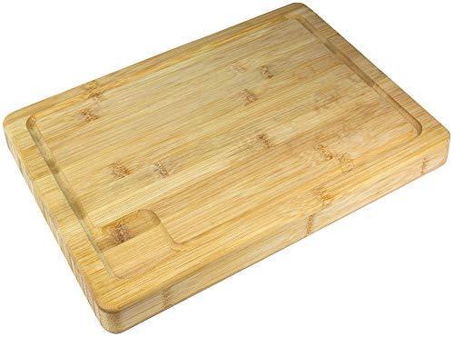 Premium Bambus Schneidebrett mit Saftrille [39,5x28x3cm] Doppelseitig Extra Dickes Bambus Schneidebrettern - Tranchierbrett - Küchenbrett - Serviertablett - Holzschneidebrett Bambus