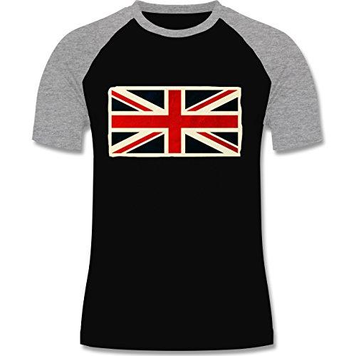 Shirtracer Länder - Flagge Großbritannien - Herren Baseball Shirt Schwarz/Grau Meliert
