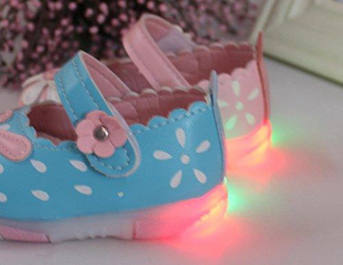 BZLine® Babyschuhe Sonnenblumen Mädchen Herbst beleuchtet Prinzessin Schuhe Blau