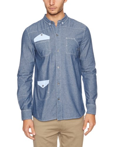 Bellfield Herren Shirt , Button-down Blau - Blue