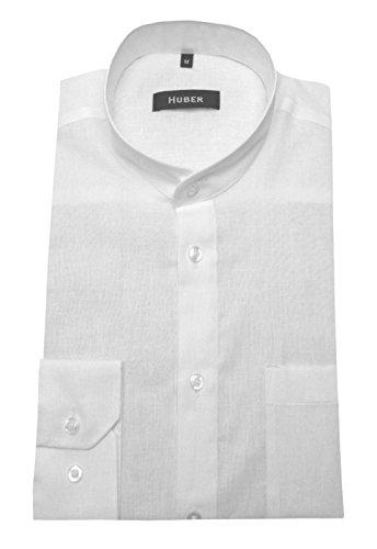 Stehkragen Leinen Hemd weiß feines Halbleinen HUBER 0430 bequeme Passform S bis 5XL Weiß