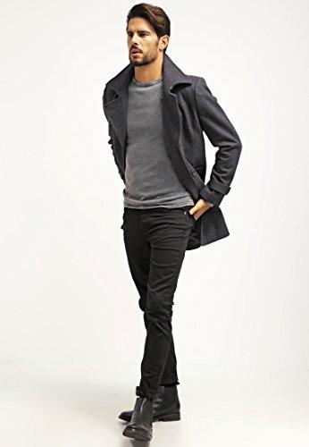 Pier One Wollmantel Herren in Schwarz, Grau o. Blau - Wollmantel kurz & elegant im Caban Stil - Zweireiher Mantel für Männer aus Wolle für den Winter Grau