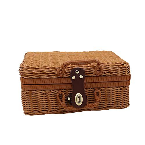 Vintage Rattan-Box,Tragbare Rattan Ablagekörbe Rattan Mini Aufbewahrungskoffer Reise Picknick Korb Tischplatte Organizer Harz Wicker Koffer Foto Requisiten Box Mit Griff (M) - Picknick Korb Vintage