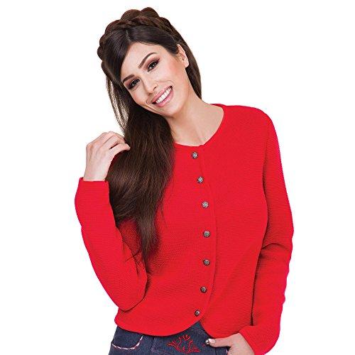 ALMBOCK Strickjacke Trachten für Damen | gestrickte Trachten Jacke rot mit Knöpfen | Trachtenweste Damen Strick - Trachtenjacke Strick Damen 40