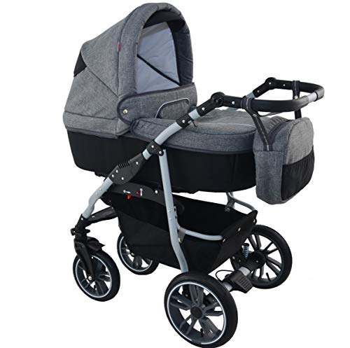 Lux4kids Kinderwagen 3in1 Set Buggy Babywanne Autositz Komplettset Lou Grey Black 3in1 mit Autositz