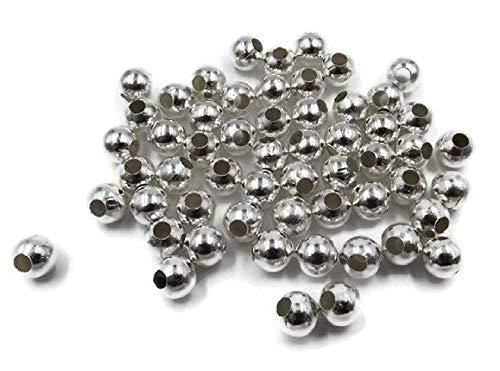 tück Metallperlen 8mm mit 3,3mm Loch, Rund, Silberfarben zum Basteln und Auffädeln ()