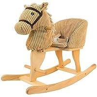 Sofá de los niños Mecedora de caballo Niños Silla de madera Caballo de madera sólida del bebé Juguete oscilante del bebé del coche del regalo de cumpleaños de madera sólida desmontable y lavable Lostg