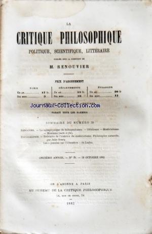 critique-philosophique-la-no-39-du-28-10-1882-renouvier-la-metaphysique-de-schopenhauer-idealisme-materialisme-monisme-breviaire-de-l-39-histoire-du-materialisme-philosophie-naturelle-par-jules-soury-les-pensees-sur-l-39-education-de-locke