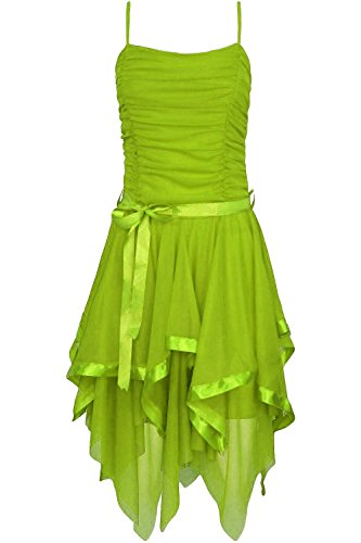 Damen Plain Chiffon Zickzack Saum Geraffte Parteiabschlussballkleid (Tinkerbell Kostüm Halloween)