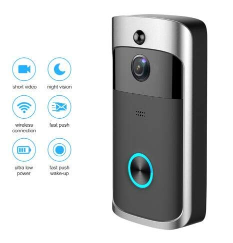 MENRAN Überwachungskamera WiFi Video Smart Türklingel Mit Kamera Ir Eingang Tür Alarm/Viewer Foto Video Intercom Home Security Wireless Tür Glocke Ring Schwarz