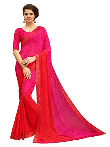TAGLINE Women's Faux Georgette Saree With Blouse Piece(Pink Dark ,Free Size)