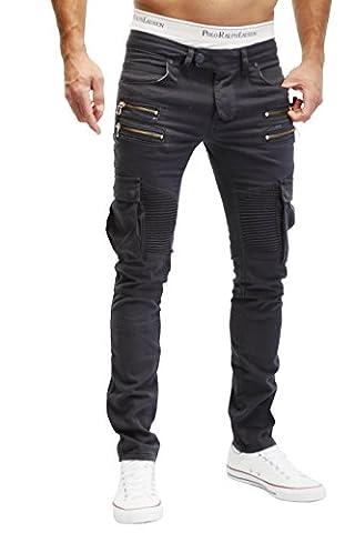 MERISH Hommes Biker Style Cargo Jeans poches à fermeture éclair