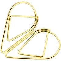 Mackur - Mini pinzas de metal para archivadores de escritorio, suministros de oficina, decoración, 10 unidades 2.5x1.4cm dorado