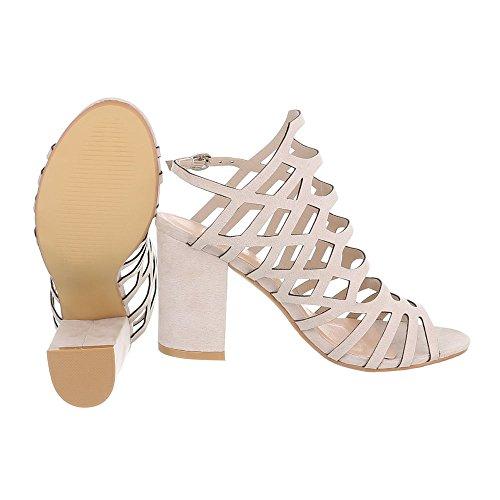 High Heel Sandaletten Damenschuhe Plateau Pump Riemchen Schnalle Ital-Design Sandalen / Sandaletten Beige