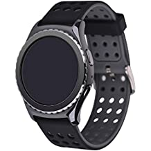 Elespoto Silicone 22MM classic Watch Strap for Samsung Galaxy Gear 2 / Neo / Live / MOTO 360 2nd 46mm/Pebble Time / LG G Watch W100/W110/Urbane Smartwatch Replacement bands (Black Grey)